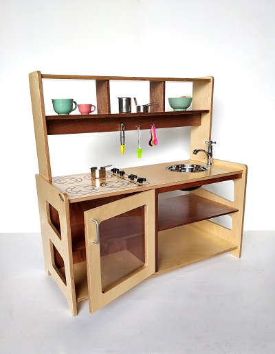 Overhead Kitchen Shelf with Hooks Hebe Natrual Childrens Furniture Early Childhood Education NZ WEB