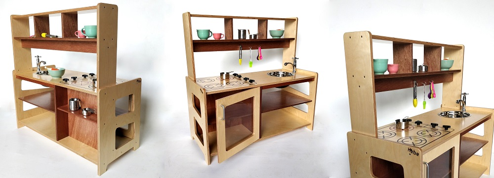 Overhead Kitchen Shelf with Hooks Hebe Natrual Childrens Furniture Wooden Early Childhood Education NZ WEB
