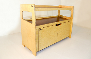 Puzzle Bookstand With Cupboard Storage Display Shelving Hebe Natural Childrens Furniture ECE Early Childhood Education NZ
