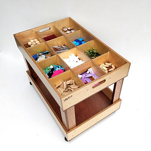Collage Unit Hebe Natural Childrens Furniture Wooden Resources Table Storage ECE NZ Educational WEB